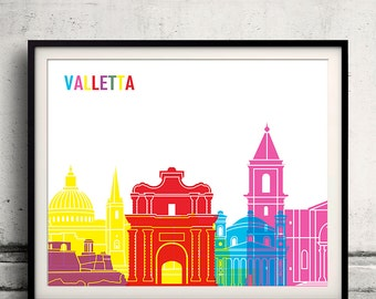 Valletta pop art skyline 8x10 in. to 12x16 in. Fine Art Print Glicee Poster Gift Illustration Pop Art Colorful Landmarks - SKU 1037