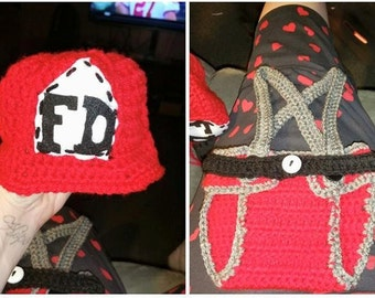 Crocheted Baby Fireman outfit