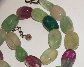 "Vge Sterling Silver 101 grams Of Multicolor Genuine fluorite Stones 18"" Necklace."