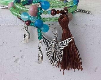 Fairy Charm Bracelet, Memory Wire Bracelet, Fairy Bracelet, Hippie Bracelet, Hippie Beads, Boho Tassel Bracelet, Fairy Jewelry, Moon Jewelry
