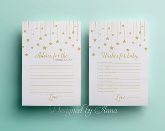 Gold stars wishes for the baby card baby shower printable game instant download white and gold advice for mom baby shower party games