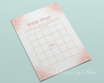 Pink confetti bridal bingo game printable bridal shower games instant download pink and white bridal shower bingo glitter game hen party