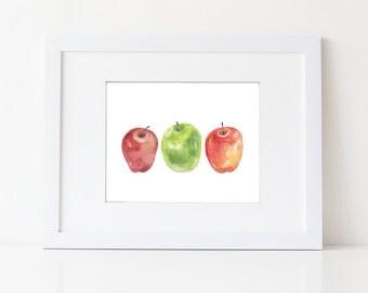 Apple Art Print- Watercolor Fruit Painting - Simple Watercolor Art - Various Sizes