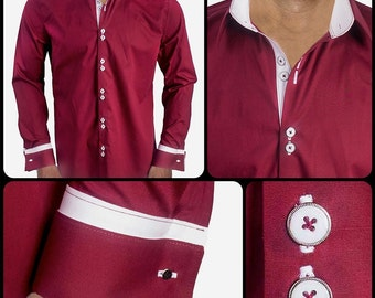 Maroon with White French Cuff Dress Shirt - Made in USA