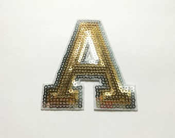 Alphabet Letter A Iron on Patch - Gold Sequin A, Glitter Applique Embroidered Iron on Patch - Size 6.8x7.5 cm#T2