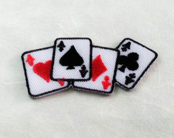 Poker Card Iron on Patch - Playing Card Applique Embroidered Iron on Patch-Size 3.3x6.4 cm