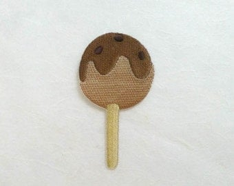 Chocolate Lollipop Candy Iron on Patch (L) -Brown Lollipop Candy Applique Embroidered Iron on Patch-Size 4.2x7.5cm