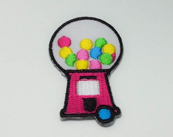 Pink Bubble Gum Vending Machine Iron on Patch(M),   Bubble Gum Vending Machine Applique Embroidered Iron on Patch Size 3.6x5.7 cm