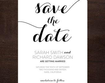 Modern Script Save the Date Printable, Digital File