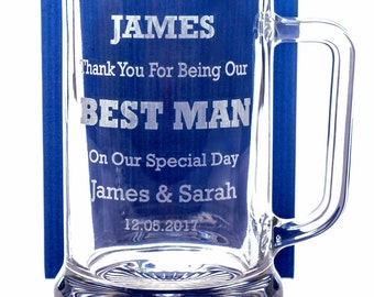 Engraved/Personalised BEST MAN WEDDING Large Pub Pint Tankard - Gift for Usher/Father of the Bride/Groom