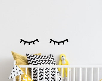 Sleepy eyes, sleepy eyes wall decor, sleepy eyes decor, sleepy face, eyelash, eyelashes, blinking eye, kids wall, wall decal kids, #075