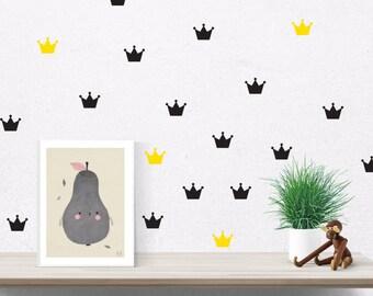 Crown wall decal, princess crown, princess crown wall decor, crown decor, girls wall decal, gold crown decal, princess decal, baby girl #073