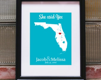 Custom Engagement Print, Unique Engagement Print, Personalized Engagement Print, Engagement Gifts for Men, for Women - Any State or Country
