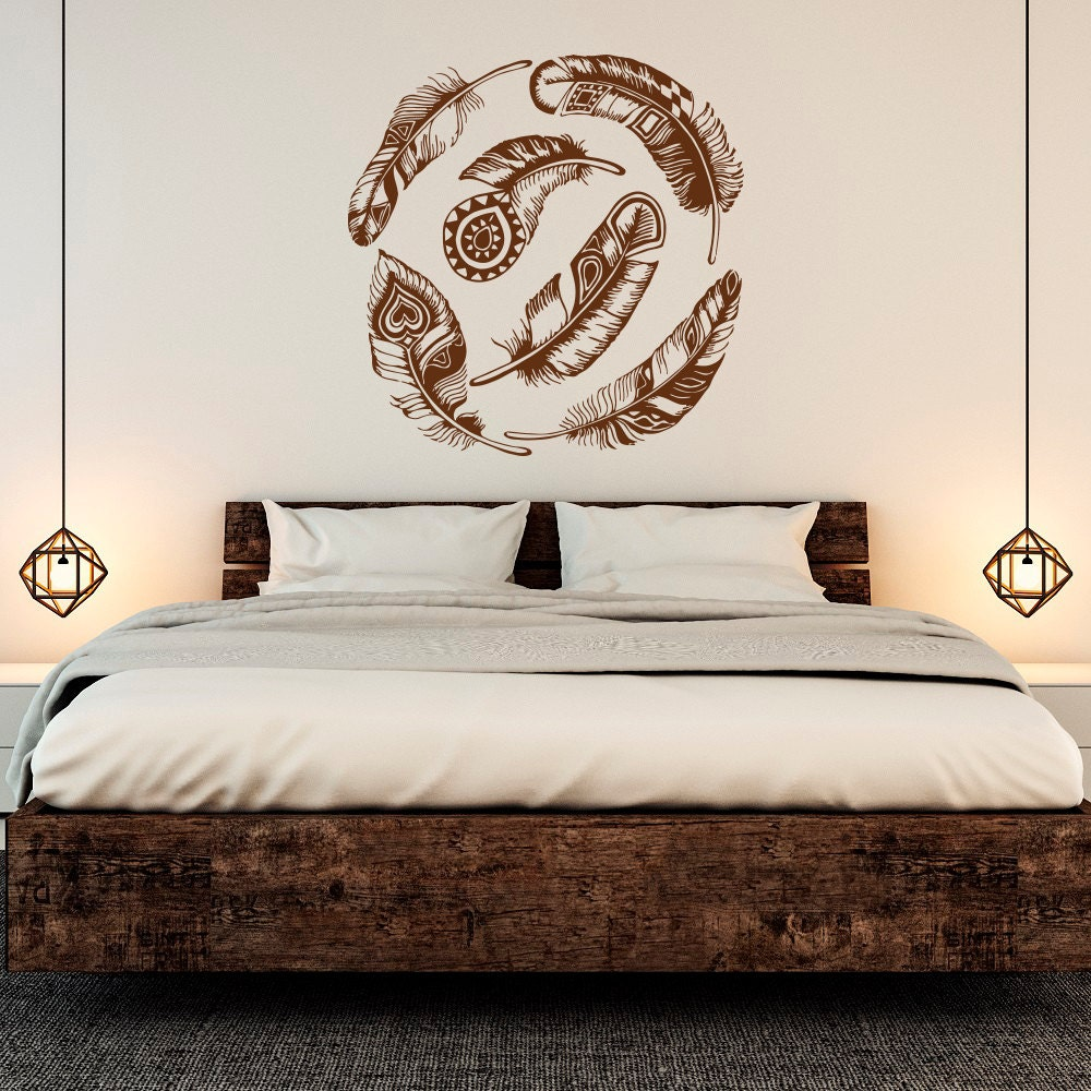 Feather wall decal vinyl sticker dream catcher tribal decor zoom amipublicfo Choice Image