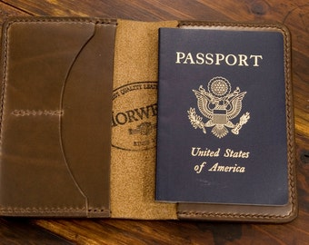 Natural Maple CXL - Leather Passport Holder / Passport Wallet / Passport Cover - Natural Brown Horween Chromexcel CXL - made in Texas