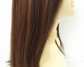 Long 21 inch Straight Brown Dark Auburn and Copper Lace Front Wig with Bangs and Premium Heat Resistant Fiber. [37-208-Sonya-4/27/30]