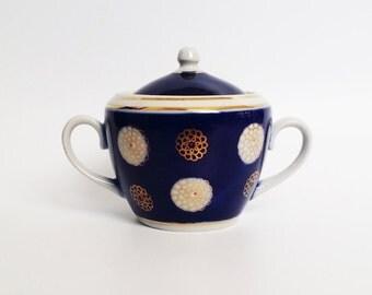 Vintage porcelain sugar bowl dish cup serving container shaker Soviet gold details cobalt porcelain china faience ceramic