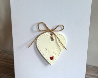 """Clay Keepsake Card """"My Love"""" on a White Blank Card, handmade air dry clay in a shabby chic style with red heart and natural hessian string"""
