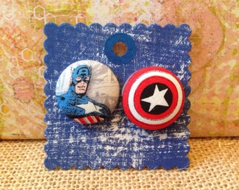 Captain America Earrings, covered button earrings, comic book fabric, Marvel