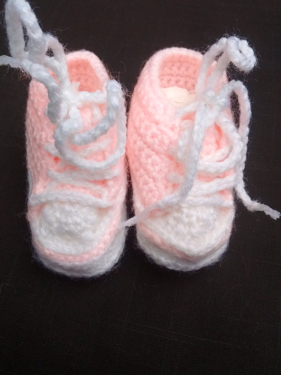 Knitted crochet booties newborn baby girl Converse trainer