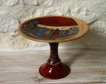 Handmade Ceramic Footed Fruit Bowl, Wedding Centerpiece, Pottery bowl, Serving tray. Wheel Thrown Bowl, Wedding gift, Danko pottery