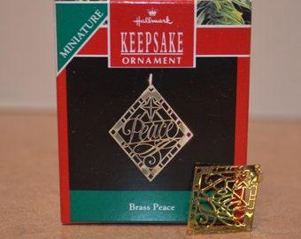 Hallmark 1990 Brass Peace Miniature Ornament