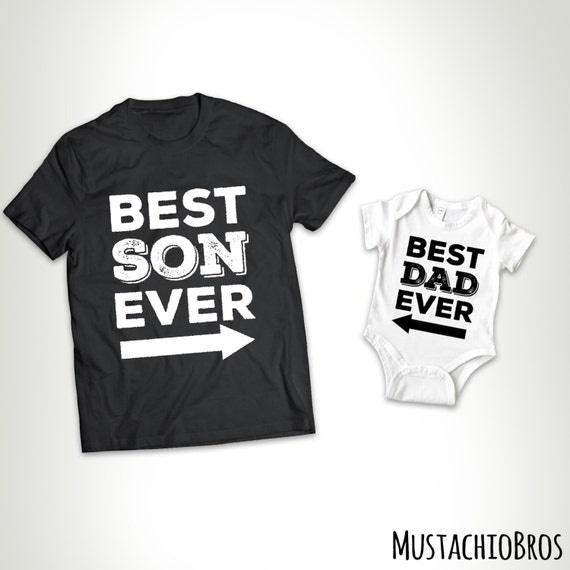 Matching Set - Best Son Ever - Best Dad Ever - T-shirt Tee Shirt Best Papa Ever Father Gift For Dad Husband Father's Day MB684 - MB685
