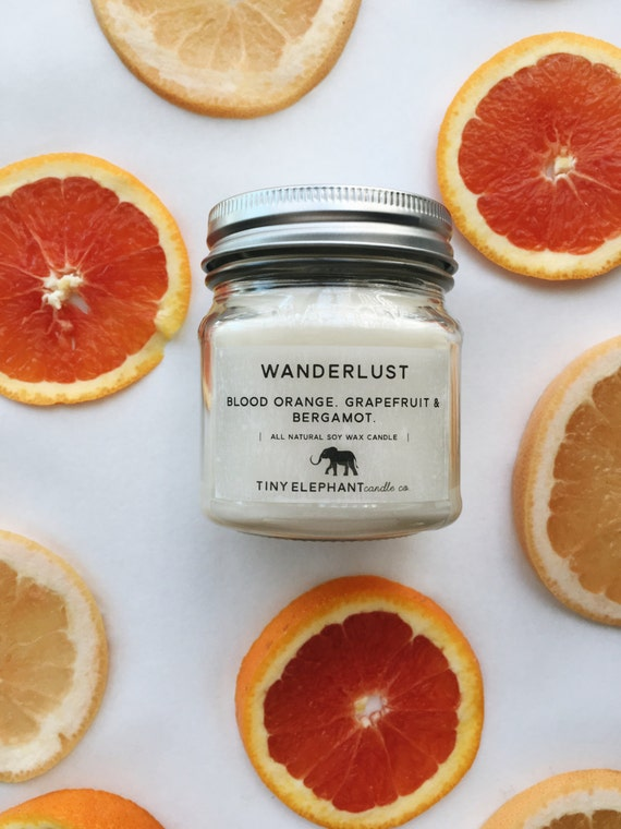 Blood Orange Candle - All Natural Candle - Soy Wax Candle - Grapefruit Candle  - Mason Jar Candle - Candle - Fruit Candle