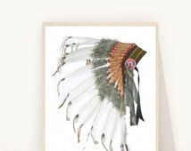 Native American Headdress, Printable Art, Tribal Print, Indian Headdress, Art Print, Wall art, Wall Decor, Instant download