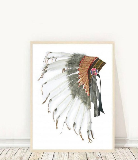 Native American Headdress Printable Art Tribal Print Indian