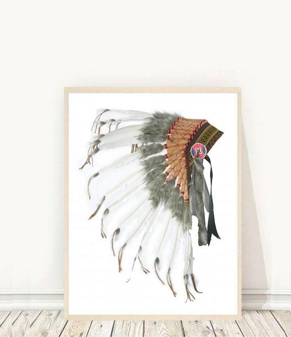 native american headdress printable art tribal print indian. Black Bedroom Furniture Sets. Home Design Ideas