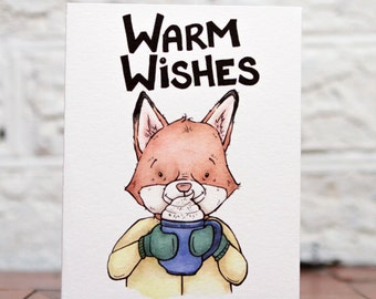 Funny Holiday Card, Funny Christmas Card, Warm Wishes Card, Fox Holiday Card, Funny Fox Card, Pun Holiday Card, Fox Christmas Card