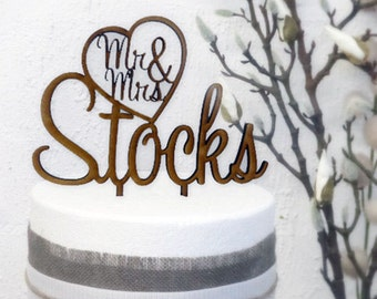 Uniquely designed |Mr&Mrs In Heart with Surname | Personalised  Wedding Cake topper| Australian made