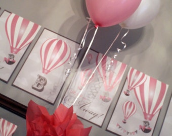 Up Up and Away (Girl) Baby Shower Centerpiece, Up Baby Shower Centerpiece, Hot Air Balloon Centerpiece. Up, Up and Away Printables