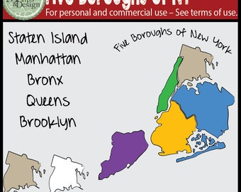 Map Clipart: This Five Boroughs of New York City (NYC) Clip Art Set
