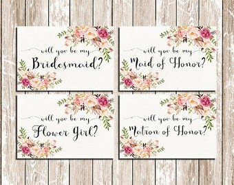 Will You Be My Bridesmaid Printable Set Wedding Card DIY