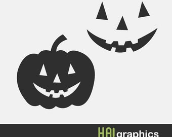 PNG, SVG and DXF Files - Pumpkin Face, Jack O Lantern, Halloween, Halloween Pumpkin, Cute, Silhouettes, Clipart, Vector, Instant Download