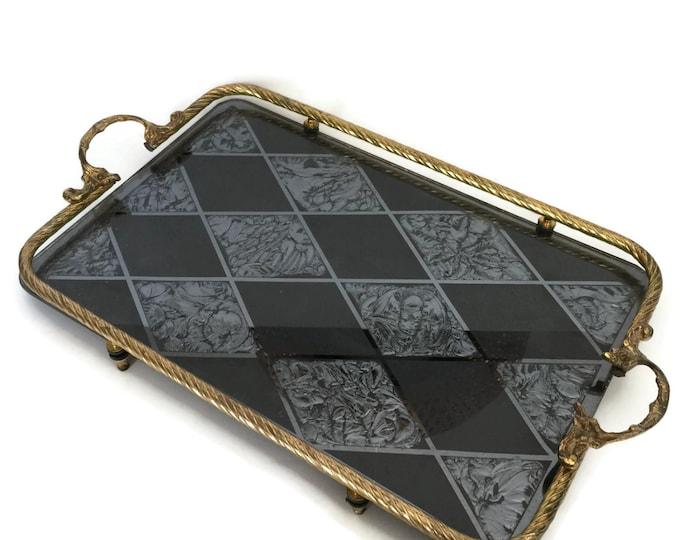 Victorian Gothic Dresser Tray Stunning, Relief Glass Harlequin Pattern