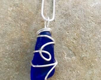 blue  sea glass necklace , rare  blue sea gladd pendant