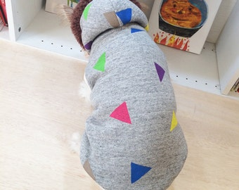"""Dog Clothes Dog Hoodie """"Triangle"""" Hand Painted Gray"""