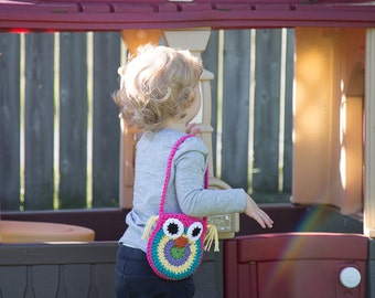 Toddler Owl Purse, Owl Purse, Toddler Purse, Crochet Purse, Owl Bag, Crochet Toddler Tote, Owl Tote, Crochet Owl, Owl Purse, Toddler Purse