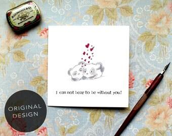 Valentines Card, Love card, Anniversary Card, Panda Love Card, Bear Card, Pun Card, Cute Love Card, Panda Card for him, Panda card for her,