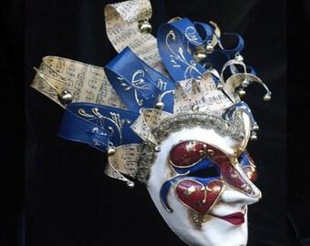 Joker Mask - Jester Masquerade Mask - Full Face Venetian Mask Gold and Blue/Gold and Green-  home decor, interior design mask F31/32/33