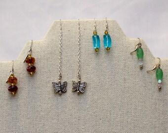 4 Pair Beaded Earrings - Dangle Earrings - Glass Bead Earrings - Sale Earrings
