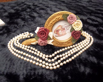 SALE Vintage Victorian Rose Picture Frame by Figi, Composite or Resin, Gold with 3 D White, Pink and Rose colored Roses