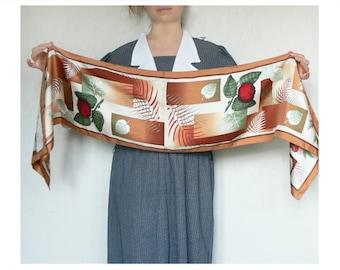 Shawl scarf, vintage scarf, floral wrap, apples