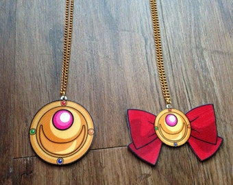 CLEARANCE Sailor Moon Transformation Brooch with Bow Charm Necklace