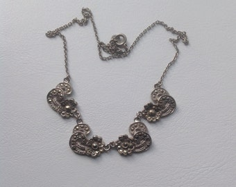 Vintage Marcasite Silver-tone Necklace. Art Deco to 1950s.Flower necklace. Bridal necklace.