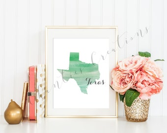 Texas State Green Ombre Watercolor Printable Art. Texas State Love Printable. Texas Silhouette Outline Watercolor State.