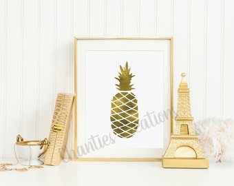 gold foil pineapple printable wall art 8x10